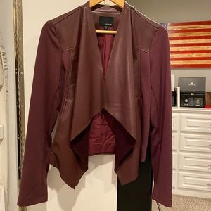 Maroon vegan leather jacket